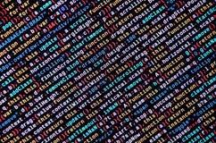 Grandes données et Internet de tendance de choses Lieu de travail informatique de spécialiste Code de HTML de site Web sur l'affi photo libre de droits