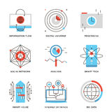 Grandes données et ligne futée icônes de technologie réglées illustration de vecteur