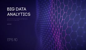 Grandes données Fond de technologie de la veille commerciale Analyse de étude profonde de réalité virtuelle d'algorithmes de code illustration de vecteur
