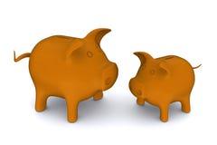 Grandes e bancos piggy orange-colored pequenos Fotografia de Stock