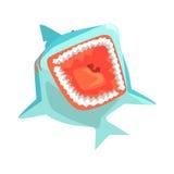 Grandes ejemplos del vector del personaje de dibujos animados de las aguas de mar de Marine Fish Living In Warm del tiburón blanc stock de ilustración
