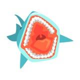 Grandes ejemplos del vector del personaje de dibujos animados de las aguas de mar de Marine Fish Living In Warm del tiburón blanc ilustración del vector