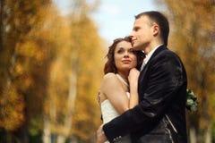 Grandes espérances - le couple de mariage se tient en parc d'automne photographie stock libre de droits