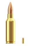 Grandes et petites cartouches de munitions sur le blanc Images libres de droits