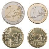 Grandes euro- moedas Fotos de Stock Royalty Free