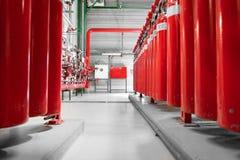 Grandes extintores do CO2 em um central elétrica Fotografia de Stock Royalty Free