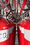 Grandes extintores do CO2 em um central elétrica Imagens de Stock Royalty Free