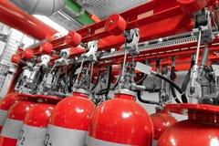 Grandes extintores do CO2 em um central elétrica Fotografia de Stock