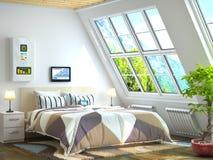 Grandes fenêtres dans la chambre avec le chauffage Images libres de droits