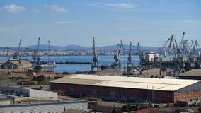 Grandes guindastes do porto que seguram recipientes Imagens de Stock
