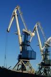 Grandes guindastes portuários industriais Fotografia de Stock