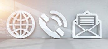 Grandes icônes de contact dans le rendu moderne de l'intérieur 3D Image stock
