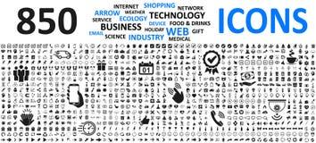 Grandes icônes réglées : affaires, achats, dispositif, technologie, médical, écologie, nourriture et boisson et beaucoup plus pou illustration de vecteur