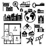 Grandes icônes d'immobiliers réglées Photos libres de droits