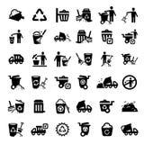 Grandes icônes de déchets réglées Images stock