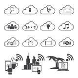 Grandes icônes de données réglées, calcul de nuage Photos stock