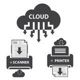 Grandes icônes de données réglées, stockage de documents de nuage Images libres de droits