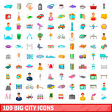 100 grandes icônes de ville réglées, style de bande dessinée Images stock