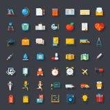Grandes icônes plates réglées Photo stock