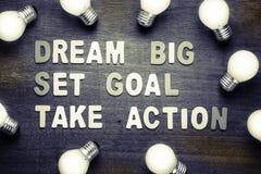 Grandes ideais - objetivo ajustado - tomam a ação Fotos de Stock Royalty Free