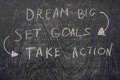 Grandes ideais - objetivo ajustado - tomam a ação, escrita sobre em uma placa de giz Imagens de Stock