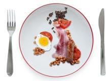 Grandes Ingleses fritam acima, café da manhã inglês completo fotos de stock