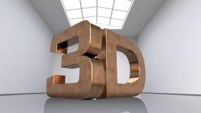 Grandes letras de cobre tridimensionais A inscrição 3D Grande sala branca ilustração 3D Fotos de Stock Royalty Free