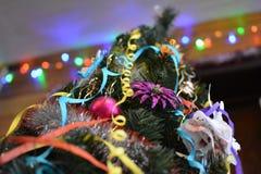 Grandes luzes de Natal e árvore de Chrismas fotografia de stock royalty free