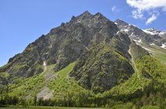 Grandes montagne rocheuse et forêt ci-dessous Photos libres de droits