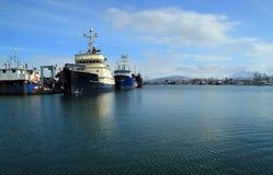 Grandes navios no porto Imagem de Stock Royalty Free