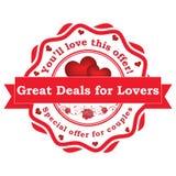 Grandes negócios para amantes Oferta especial para pares ilustração stock