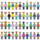 Grandes ofanimals do grupo e estilo liso na moda dos monstro projeto do infographics do jardim zoológico Vetor Imagens de Stock Royalty Free