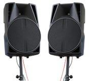 Grandes oradores audio poderosos isolados no fundo branco Imagens de Stock Royalty Free