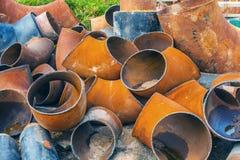 Grandes partes de tubos dobrados do metal Imagem de Stock Royalty Free