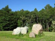 Grandes pierres sur l'herbe Image stock