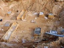Grandes poço e fundação com reforço Imagem de Stock Royalty Free