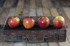 Grandes pommes rouges dans une boîte en bois foncée Caisse en bois et pommes dessus Photo libre de droits