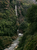 Grandes quedas e garganta profunda com floresta Fotografia de Stock