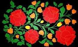 Grandes rosas brilhantes e outras flores pintadas em um fundo preto Pastiche do khokhloma nacional do teste padrão do russo tradi Fotografia de Stock Royalty Free