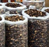 Grandes sacos com cogumelos secados Foto de Stock Royalty Free