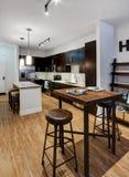 Grandes sala de jantar e cozinha do apartamento Fotos de Stock Royalty Free