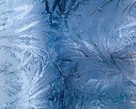 Grandes testes padrões gelados no vidro Imagens de Stock