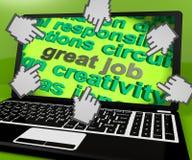 Grandes trabajo y retroalimentación positiva de Job Laptop Screen Shows Awesome Fotografía de archivo libre de regalías