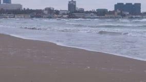 Grandes vagues orageuses en mer Beau paysage marin, plage sablonneuse et ville côtière sur le fond au coucher du soleil banque de vidéos