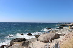 Grandes vagues sur la Mer Noire Image stock