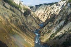 Grandet Canyon av Yellowstonen i den Yellowstone nationalparken Arkivfoto