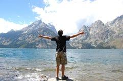 Grandeza magnífica del lago Teton Jenny Foto de archivo