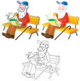 Grandfather. Old man sitting on a bench reads a newspaper (3 versions of the illustration royalty free illustration