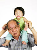 Grandfather. Happy grandfather and granddaughter with white background stock image