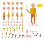 Grandfather for animation. Poses. Front, rear, side, three quarter. Creation set. Collection of emotions. Vector. Cartoon.  art on white background. Flat Royalty Free Stock Images